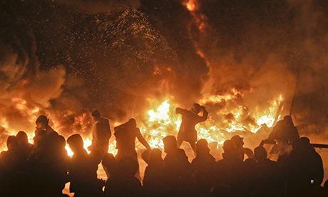 Fire protest Kiev